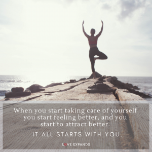 A picture quote with a woman doing yoga on an ocean pier.