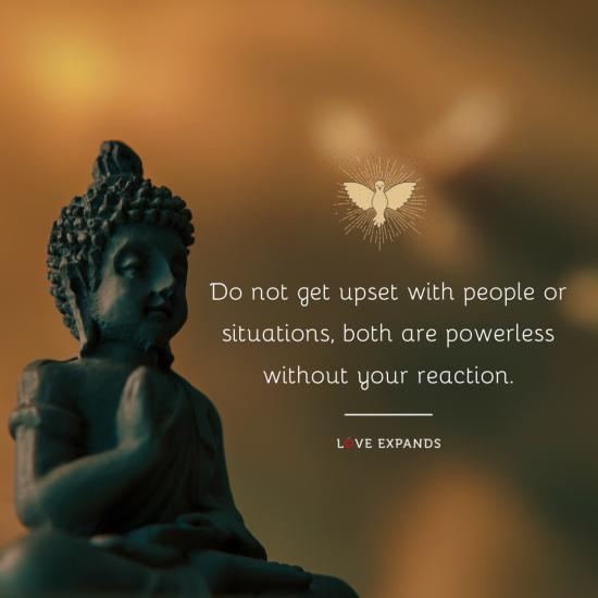 Picture quote: Do not get upset with people or situations, both are powerless without your reaction.