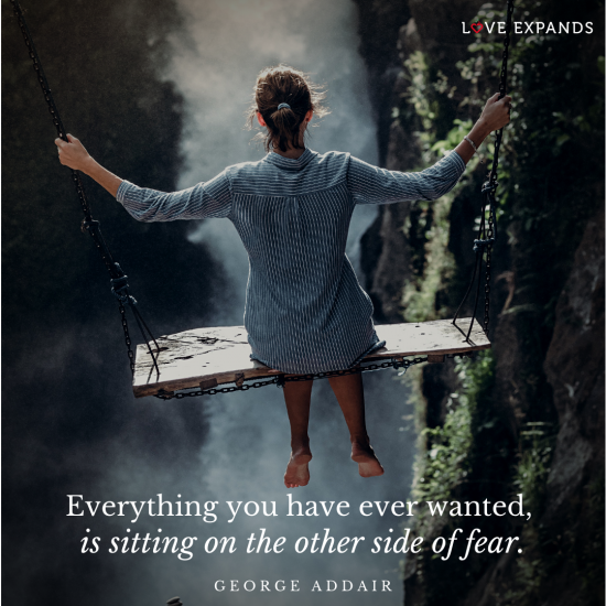 Girl on a swing on a cliff overlook a forrest and river. Everything you have ever wanted, is sitting on the other side of fear. Picture quote by George Addair.