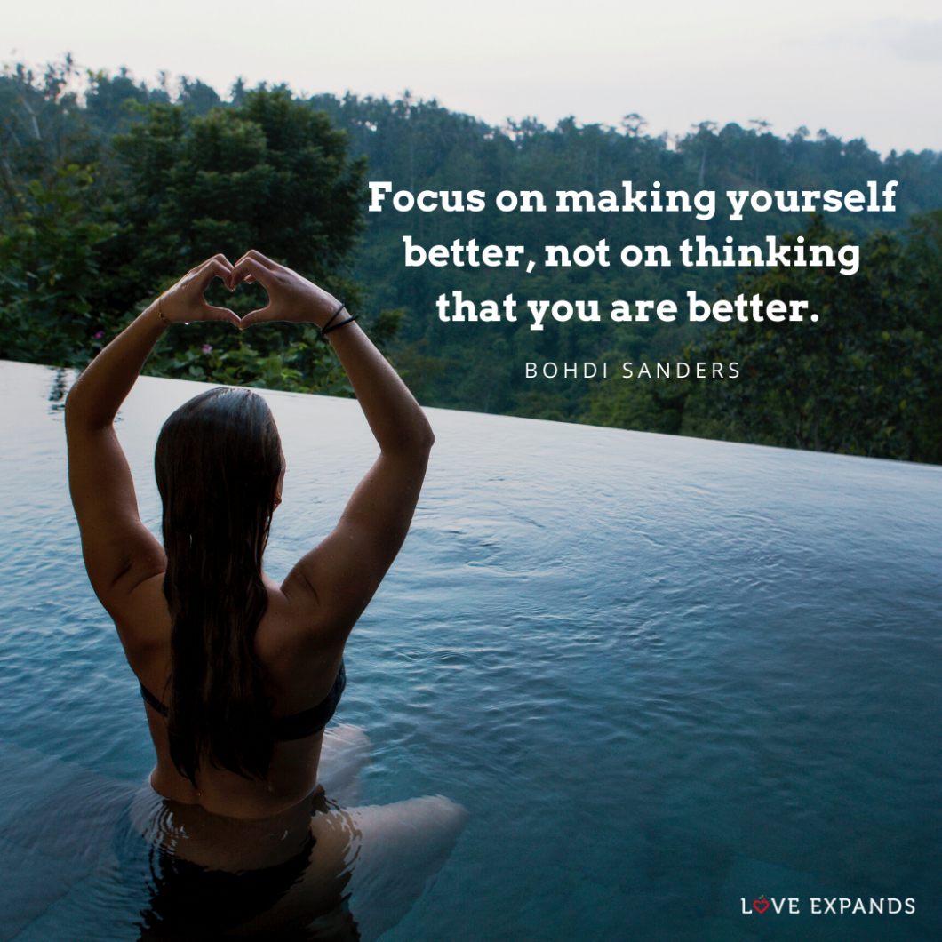 Photo quote by Bohdi Sanders of a woman in a bathing suit sitting in an infinite pool facing the forrest, making a love sign with her hands.