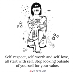 Picture Quote: Self-respect, self-worth and self-love, all start with self. Stop looking outside of yourself for your value.