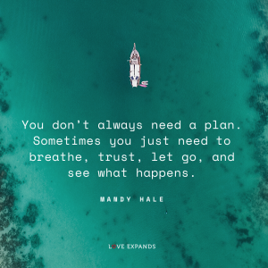 """Overhead view of a boat over blue, aqua colored ocean water. """"You don't always need a plan. Sometimes you just need to breathe, trust, let go, and see what happens."""" Picture quote by Mandy Hale."""