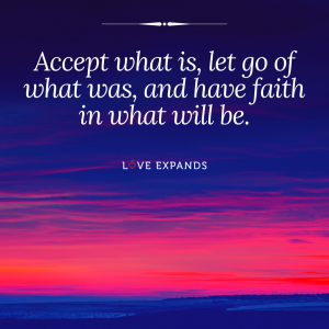 A faith picture quote of a red and pink sunset