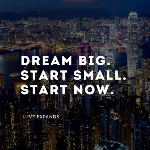 Dream big Start small Start now.