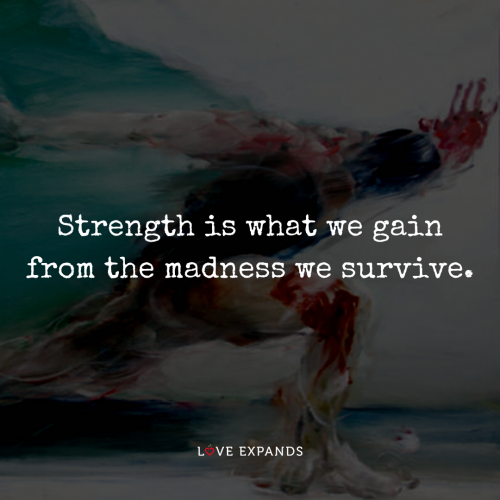 Strength is what we gain from the madness we survive.